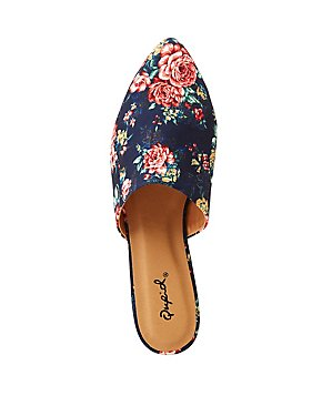 Qupid Floral Pointed Toe Mules