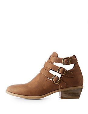 Buckle Cut Out Ankle Booties