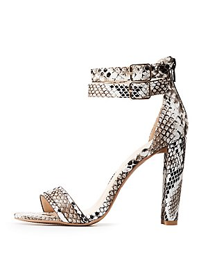 Faux Snakeskin Ankle Strap Sandals
