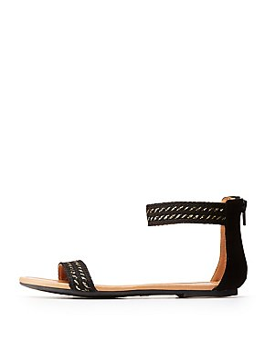 Braided Ankle Wrap Flat Sandals
