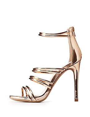 Metallic Caged Tubular Platform Sandals