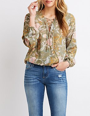 Lace-Up Floral Wrap Top