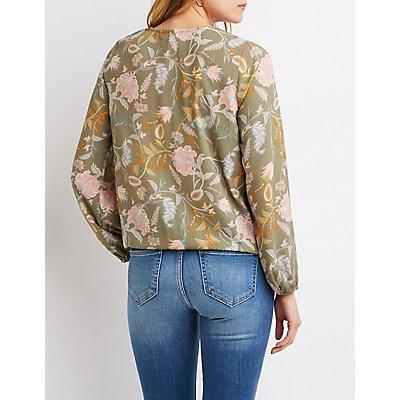 Lace-Up Floral Wrap Top