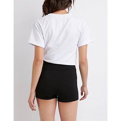 Zip Up High Rise Cheeky Shorts