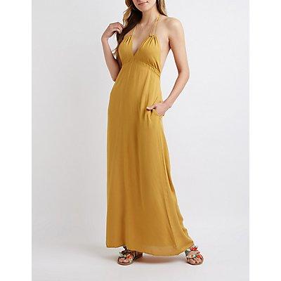 Drawstring Halter Maxi Dress
