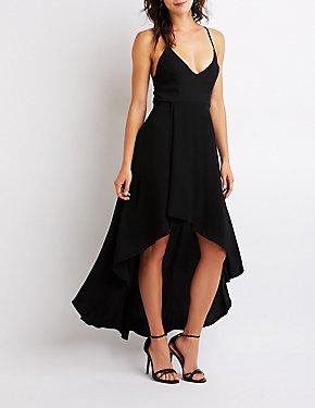 Lace Up Hi Low Dress