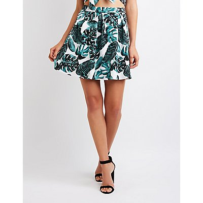 Tropical Print Skater Skirt