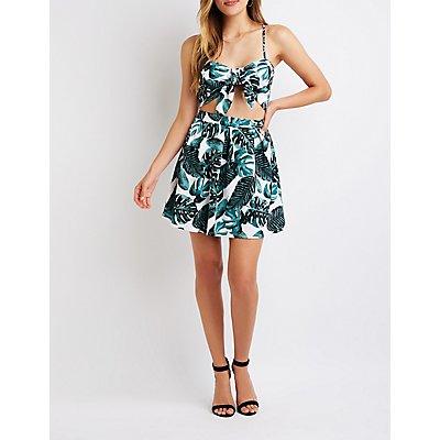 Tropical Print Skater Skirt