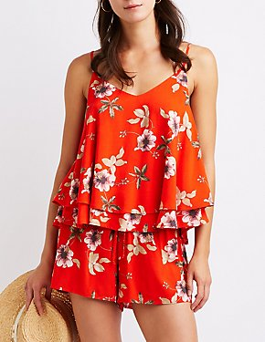 Floral Layered Ruffle Top