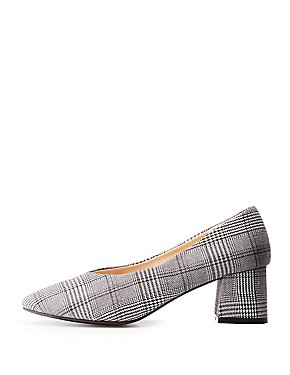 Plaid Pointed Toe Block Heel Pumps