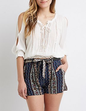 Paisley Tie-Front Paperbag Shorts