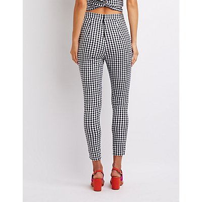 Gingham Skinny Leg Pants