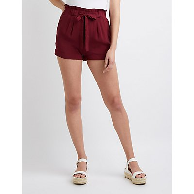 Tie-Front Paperbag Shorts