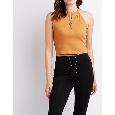 Ribbed Zip-Up Crop Top