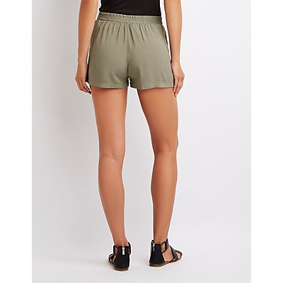 Tie-Front Pleated Shorts