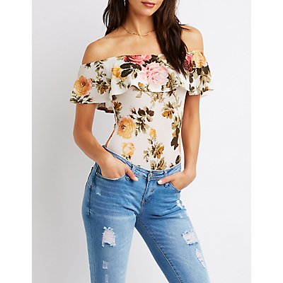 Floral Ruffle Off-The-Shoulder Bodysuit