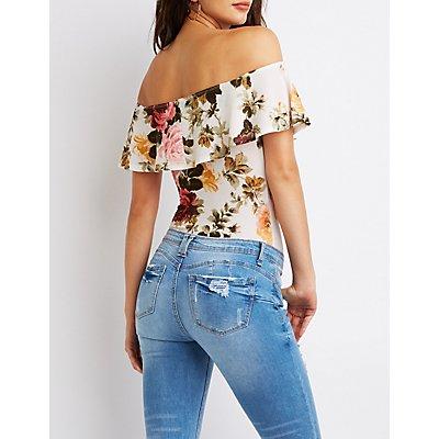 Floral Ruffle Off-The-Shoulder Bodysuit