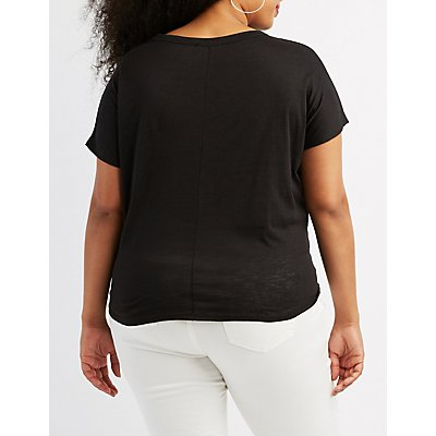 Plus Size Cut-Out Boyfriend Tee