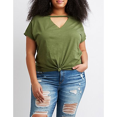 Plus Size Knotted Cut-Out Tee
