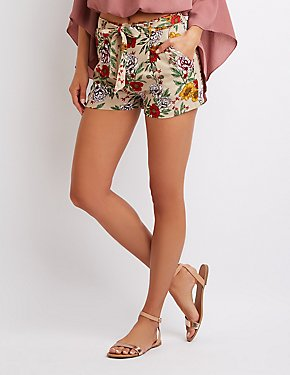Floral Tie-Front Pleated Shorts