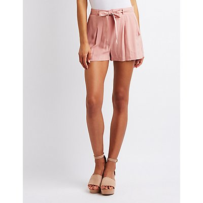 Woven Tie Front Shorts