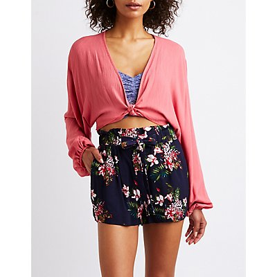 Floral Tie Front Paperbag Shorts
