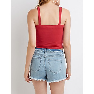 Lace Up Tank Crop Top