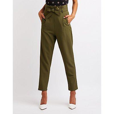 Tie Front Paperbag Pants