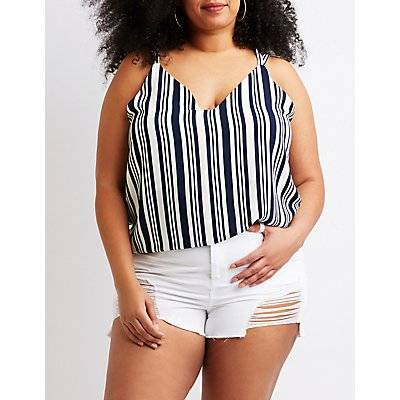 Striped Caged Tank Top