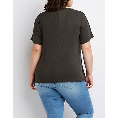 Plus Size Cut-Out Graphic Tee
