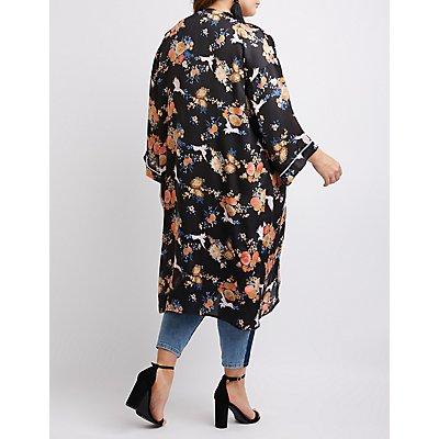 Plus Size Floral Satin Kimono