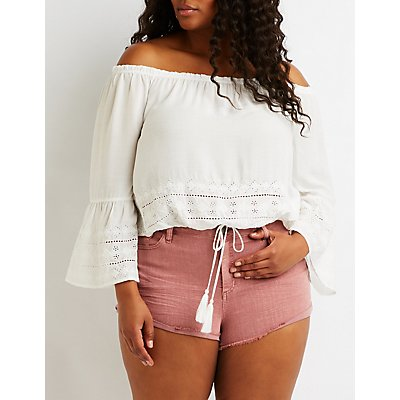 Plus Size Bell Sleeve Off The Shoulder Top
