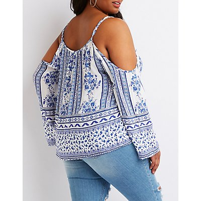 Plus Size Boho Print Tie-Front Cold Shoulder Top