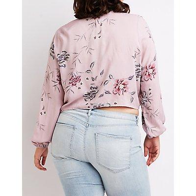 Plus Size Floral Tie Front Crop Top