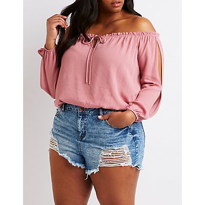 Plus Size Tie-Front Cold Shoulder Top