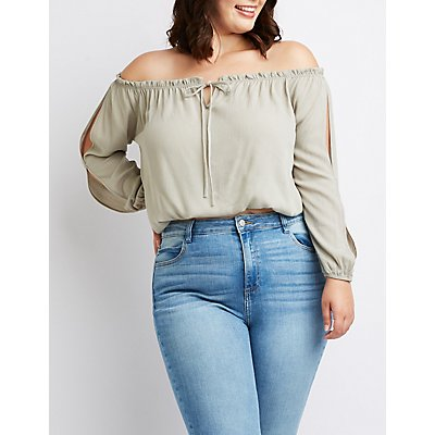 Plus Size Ruffle Off-The-Shoulder Top