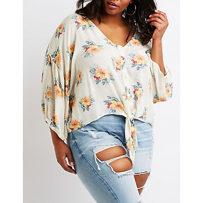 Plus Size Printed Button Up Top