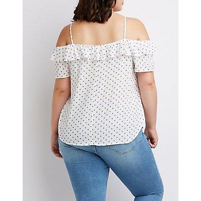 Plus Size Tie-Front Cold Shoulder Top