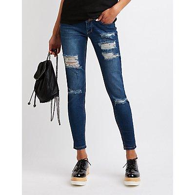 Destroyed Hi-Waist Skinny Jeans