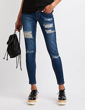 Destroyed Hi Waist Skinny Jeans