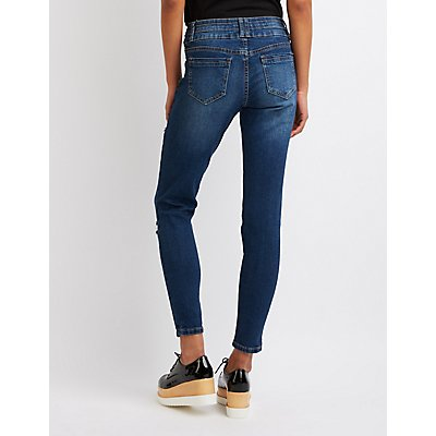 Destroyed Hi Waist Skinny Jeans