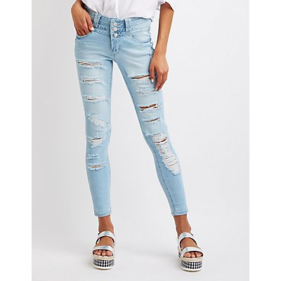 Destroyed High-Waist Skinny Jeans