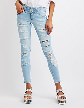 Destroyed High-Waist Skinny Jeans