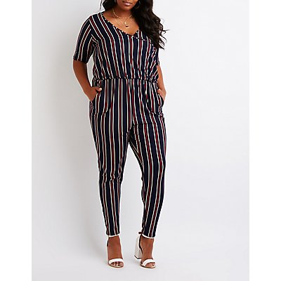 Plus Size Striped Wrap Jumpsuit