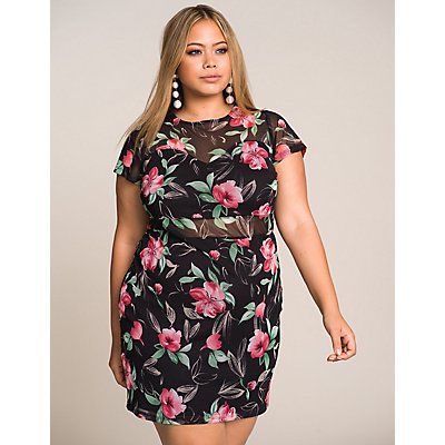 Plus Size Floral Bodycon Dress