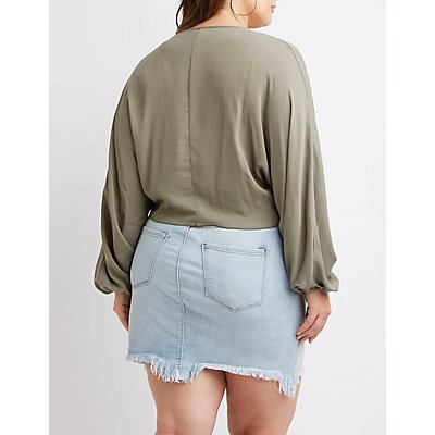 Plus Size Bell Sleeve Cropped Top