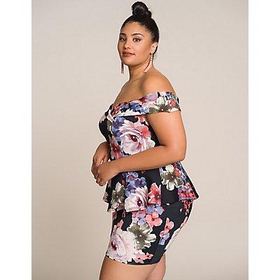 Plus Size Floral Off The Shoulder Bodycon Dress