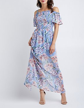 Floral Off-The-Shoulder Smocked Maxi Dress