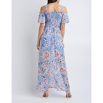 Floral Off-The-Shoulder Smocked Maxi Dress