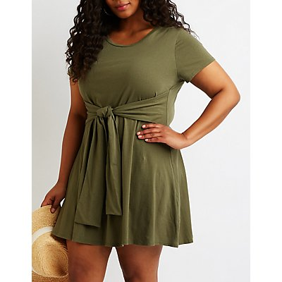 Plus Size Tie Front T-Shirt Dress